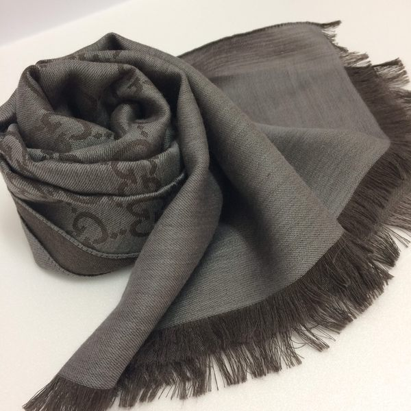 GUCCI全新真品 雙G緹花雙色 圍巾/披肩 ( 灰色 / 咖啡色) ~現貨特價