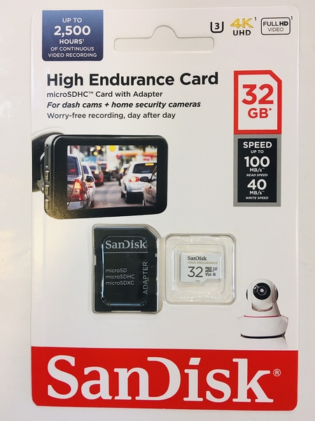 SanDisk HIGH ENDURANCE Micro SDHC 32Gb 高耐寫度記憶卡 100MB/s C10 U3 V30 【台灣代理商公司貨】