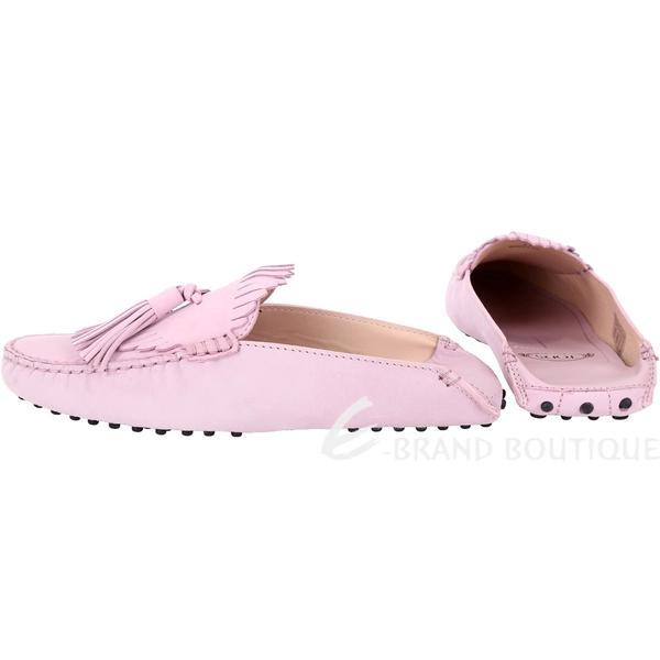 TOD'S Gommino 流蘇拖鞋式磨砂牛皮豆豆穆勒鞋(女款/粉紫) 1830107-47