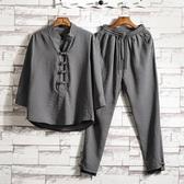 唐裝亞麻套裝 中國風男裝 棉麻改良式漢服居士 復古裝茶服中式民族服裝 初秋新品