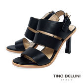 Tino Bellini 知性復古氣息純色高跟涼鞋 _ 黑 A83083
