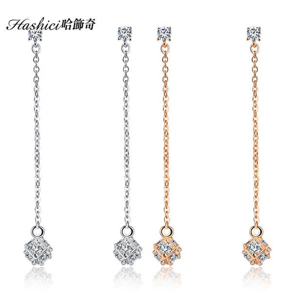 銅鍍白金耳環 晶亮鋯石耳環 奢華風格 華麗風格 送禮物 新娘 婚禮配戴一對價【EKA706】哈飾奇