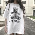 印花上衣 夏季情侶裝短袖T恤女潮小熊寬鬆水墨印花bf中長款復古上衣-Ballet朵朵