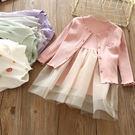 新春洋裝 超值組 女童坑條上衣拼接網紗洋...