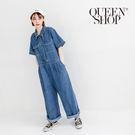 Queen Shop【04050455 】配色車線短袖牛仔連身褲*現+預*