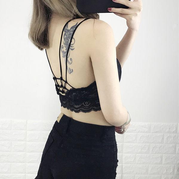 [超豐國際]蕾絲黑白色抹胸文胸短款吊帶小背心防走光內衣女學生1入