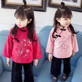 女寶寶唐裝古裝漢服秋季套裝女童0-1-2-3歲4嬰兒衣服復古中國風潮 萬聖節服飾九折