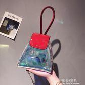 夏天小包包超火鐳射透明果凍包迷你手提三角鏈條斜挎女包 完美情人精品館