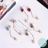 耳環 布藝花朵長款珍珠耳環 A3070