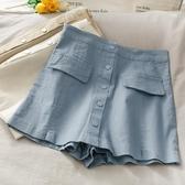韓范休閒高腰百搭短褲裙女夏季時尚寬鬆顯瘦口袋排扣闊腿褲子 韓國時尚週