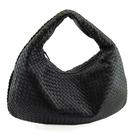 【奢華時尚】BOTTEGA VENETA 黑色編織皮革肩背大和尚包(九成新)#25096