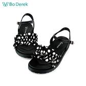 Bo Derek 復古波點一字帶皺褶涼鞋-黑色