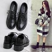 學院風黑色小皮鞋女2020夏季新款英倫增高布洛克女鞋學生中跟鞋子