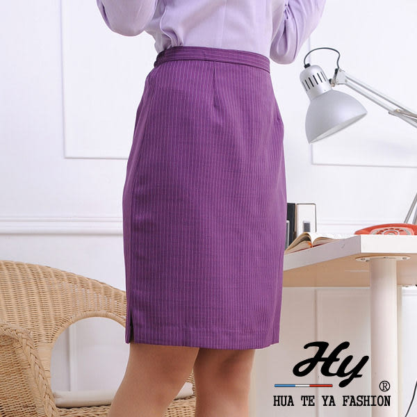 【HTY-13E-A】華特雅-亮眼活力OL辦公室女直筒裙子(葡萄白條紋)