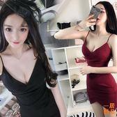 洋裝連身裙夏季時尚夜店交叉v領低胸性感修身顯瘦包臀吊帶連身裙女