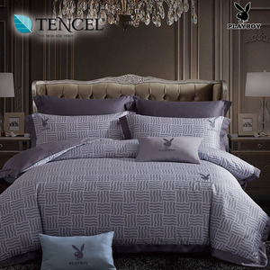 【貝兒寢飾】PLAYBOY 60支萊賽爾天絲兩用被床包+刺繡抱枕五件組(加大/經典元