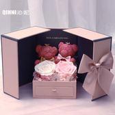 進口永生花禮盒粉色玫瑰小熊情人圣誕節表白閨蜜送女友禮物擺件 igo漾美眉韓衣