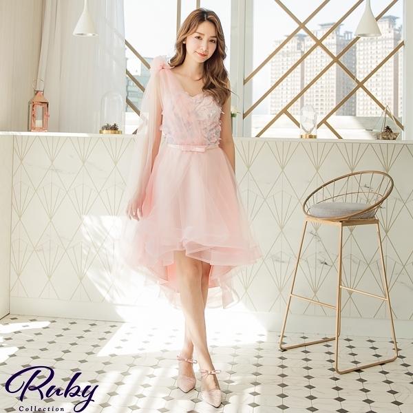 洋裝 前短後長單肩桃心領花朵無袖禮服洋裝-Ruby s 露比午茶