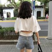 短袖t恤女夏裝2019新款喪系衣服女百搭韓版后背拉鏈性感上衣『櫻花小屋』