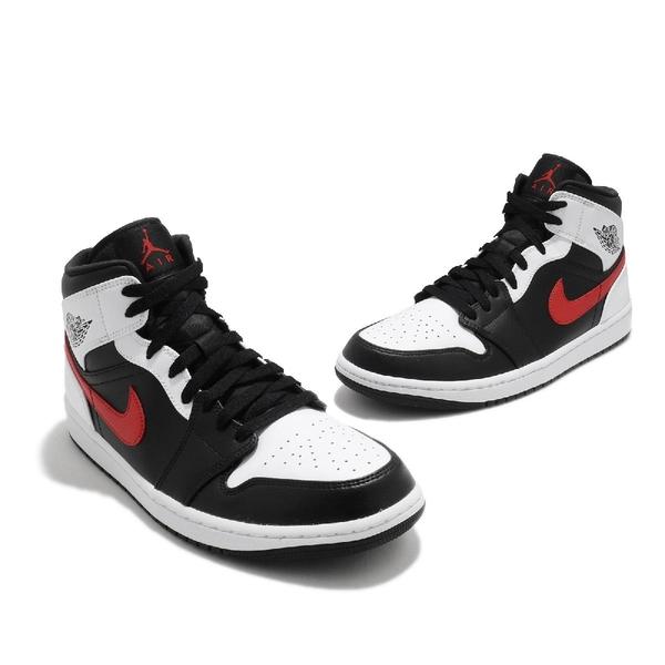 Nike 籃球鞋 Air Jordan 1 Mid 黑 白 紅 男鞋 喬丹 AJ1 籃球鞋 運動鞋 【ACS】 554724-075