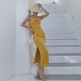 吊帶連身裙-露背交叉綁帶修身長洋裝74ag11【巴黎精品】