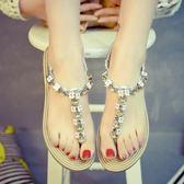 涼鞋 夾腳波西米亞夾趾羅馬坡跟一字扣水鉆寶石搭扣平底