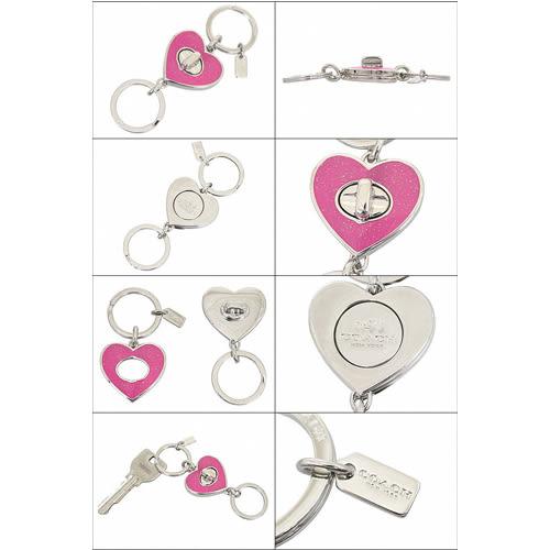 COACH專櫃款梅紅色愛心鈕扣式雙圈鑰匙圈