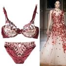 蕾絲內衣套裝(胸罩+內褲)-超薄透氣半罩...
