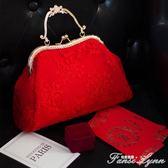 女新款包包紅色結婚新娘手提包蕾絲包包單肩斜挎女包口金包  HM  范思蓮恩
