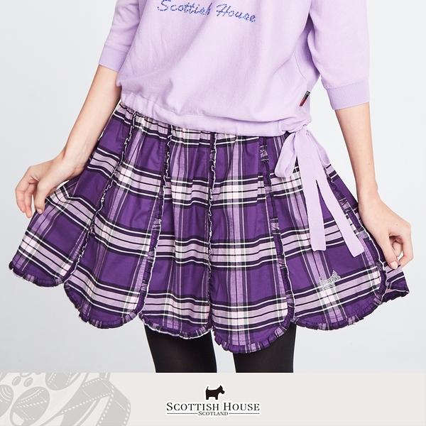 直條荷葉花瓣擺格短裙 Scottish House 【AM2101】