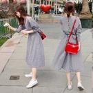 七分袖洋裝 春夏正韓復古bf格紋顯瘦收腰長裙學生風七分袖連身裙女-Ballet朵朵