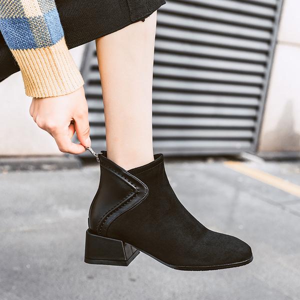 短靴女2019年新款秋冬季百搭馬丁靴英倫風短筒粗跟中跟網紅瘦瘦靴