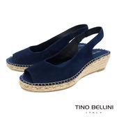 Tino Bellini 西班牙進口簡約麂皮魚口麻編楔型涼鞋 _ 藍 A83043A 歐洲進口款