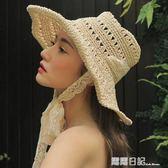 遮陽草帽女蕾絲綁帶太陽帽防風沙灘帽摺疊旅行拍照 露露日記