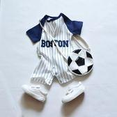 嬰兒棒球服純棉夏季0-1歲男寶寶短袖哈衣新生兒連體衣爬爬服伊芙莎