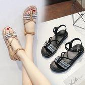 涼鞋女夏平底夏季學生簡約韓版百搭綁帶黑色羅馬涼鞋 奇思妙想屋