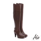 A.S.O 保暖靴 真皮雙色感釦飾拉鍊長靴  深咖啡