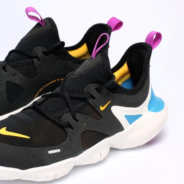 Nike FREE RN 5.0  GS 黑 橘紫藍 襪套 慢跑 女(布魯克林) 2019/4月 AR4143-003