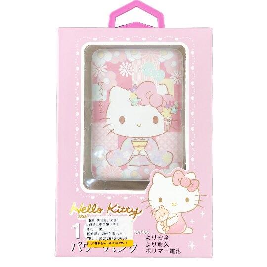 小禮堂 Hello Kitty 方形雙孔行動電源 隨身充 行動充 充電器 5000Ah (粉 和服) 4710810-64270