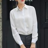 職業襯衫 白色襯衣秋季百搭洋氣職業正裝工作服雪紡垂感寬鬆氣質長袖襯衫女-Ballet朵朵