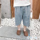 男童七分褲 牛仔薄款短褲外穿破洞寬松短褲【奇趣小屋】