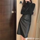 新款大碼復古PU皮裙半身裙女胖mm高腰中長款開叉一步裙包臀裙 雙十二全館免運
