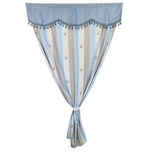 【新作部屋】北歐風簡約質感加寬長門簾(120*180公分)藍咖條紋