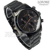 LOVME 公司貨 真三眼 城市獵人個性時尚手錶 不鏽鋼 不銹鋼男錶 防水手錶 黑x玫瑰金 VS0055M-33-341