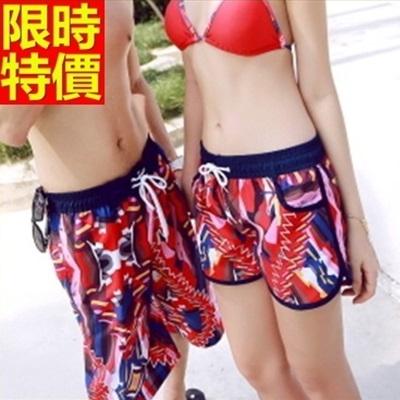 情侶款海灘褲(單件)-防水衝浪紅色幾何圖形亮眼設計男女沙灘褲66z22[時尚巴黎]
