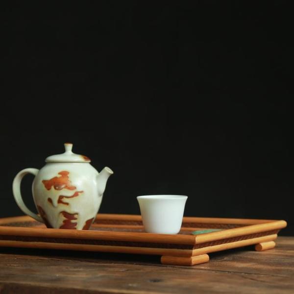 竹編干泡臺 竹制席面小茶盤茶水托盤 功夫茶具家用一壺二杯茶臺1入