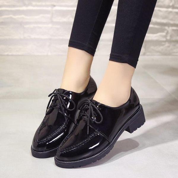紳士鞋女皮鞋女英倫風韓版學院圓頭繫帶粗跟單鞋牛津復古 貝芙莉女鞋