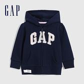 Gap女幼童 Logo基本款休閒連帽外套 619618-海軍藍