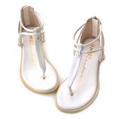 amai簡約扭結T字夾腳涼鞋 白