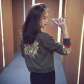 秋季新款女裝寬鬆短款刺繡ulzzang棒球服夾克衫百搭春秋外套    韓小姐